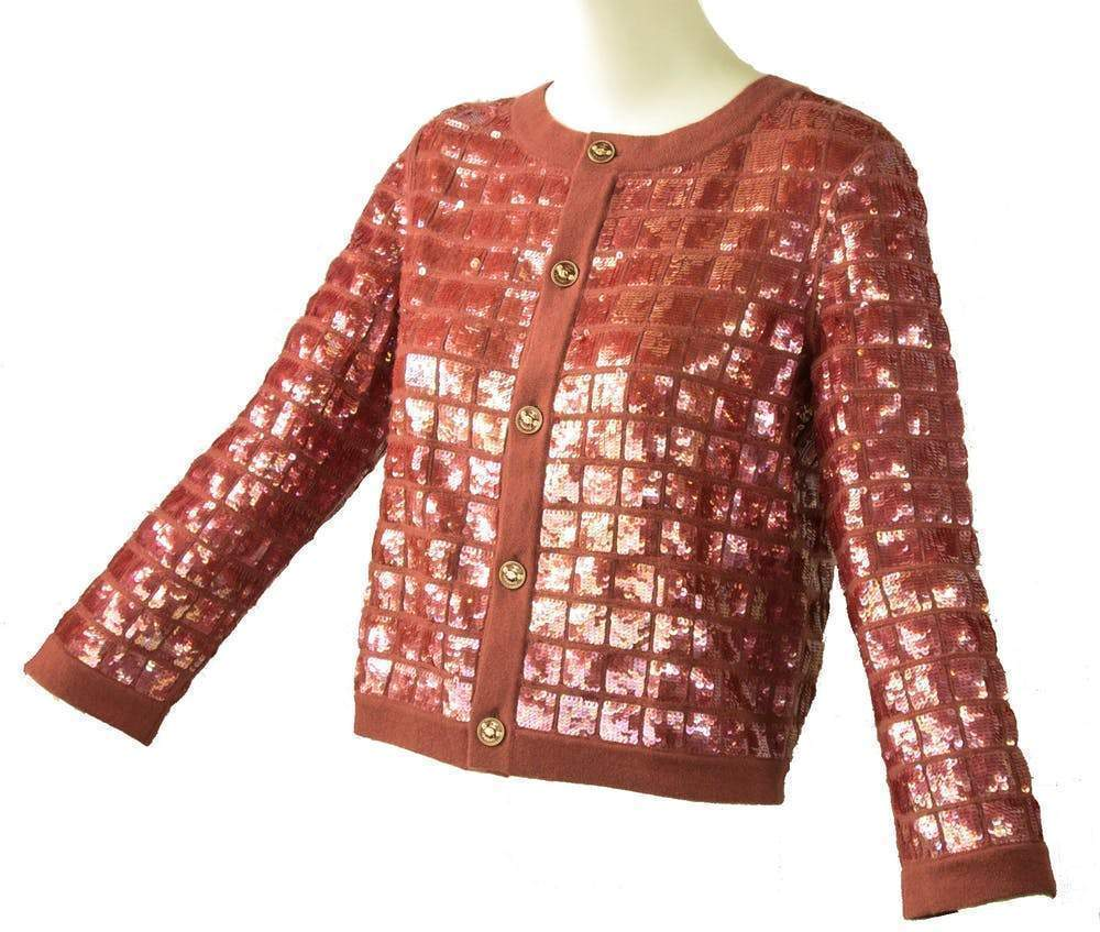 Chanel Plum Cashmere Sequin Cardigan Sweater Chanel