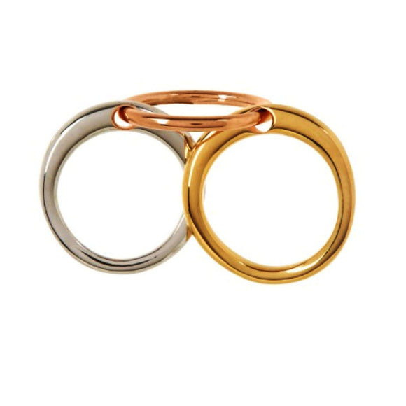 Charlotte Chesnais Three Lovers Ring Jewelry O/S / Gold and Silver and Pink Gold Charlotte Chesnais Charlotte Chesnais designer jewelry French Jewelry gold jewelry Neo Lovers Ring Pink Gold Ring Rose Gold silver Three Lovers Ring $485.00 GordonStuart.com