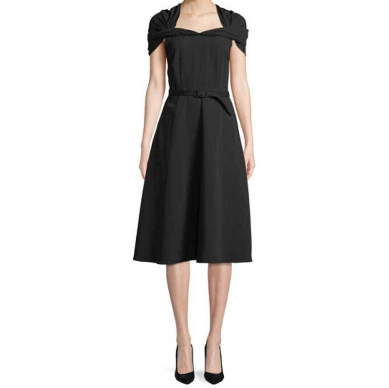 Co Collection Draped Shoulder Black Fit and Flare Dress Dress Co Collection