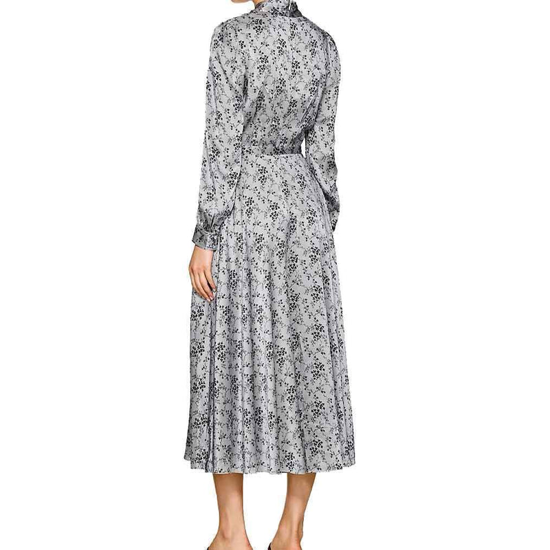 CO Floral Striped Silk Charmeuse Dress Dress Co Collection