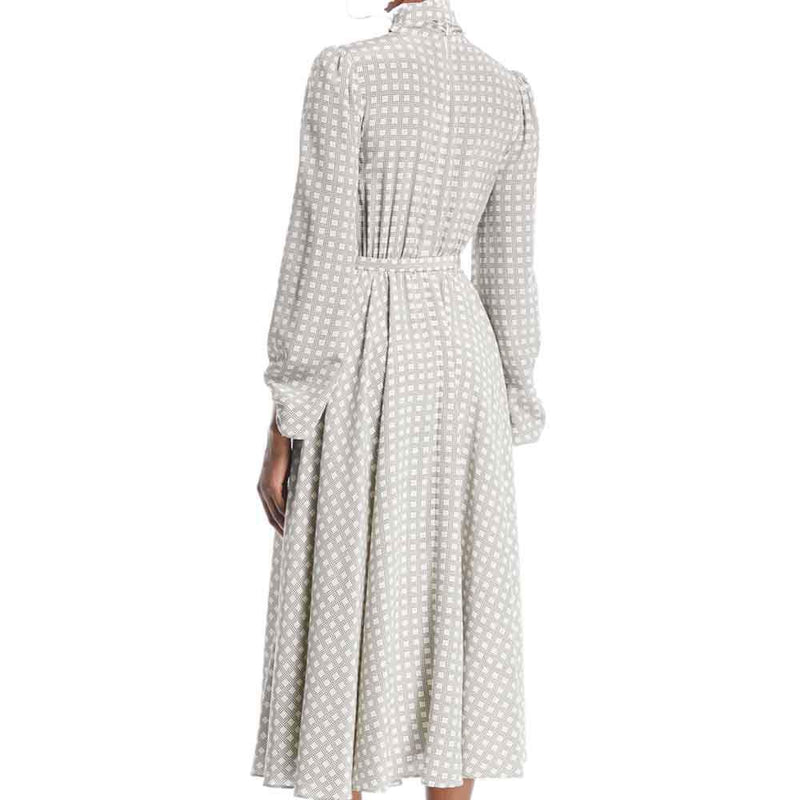 Co Collection Tie-Neck Plaid Silk Belted Midi Dress Dress Co Collection