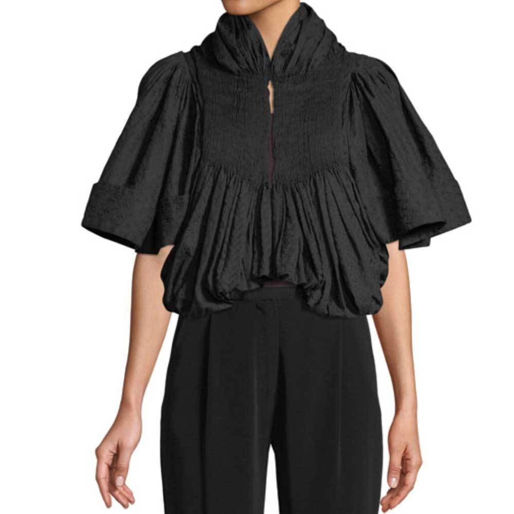 Co Collection Embroidered Voile Pleated Cropped Jacket Jackets Co Collection