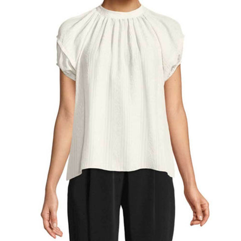 Co Collection Sweater S / Ivory Co Collection Cloque Short Sleeve Top