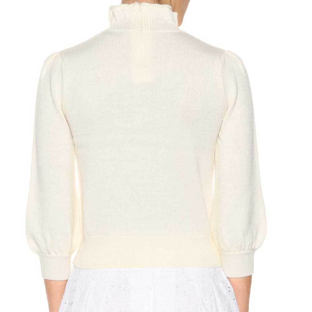 Co Collection High Collar Peasant Sleeve Ivory Sweater Sweater Co Collection