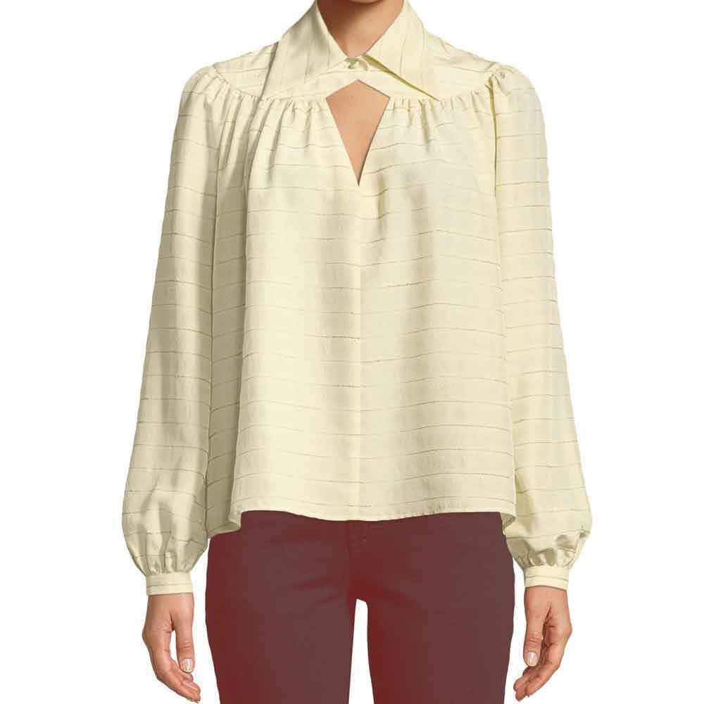 Co Collection Long Sleeve Yoked Stripe Silk Blouse Sweater Co Collection