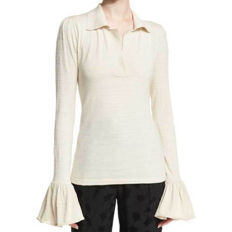 Co Collection Tops S / Ivory Co Collection Flared Cuff Polo Top