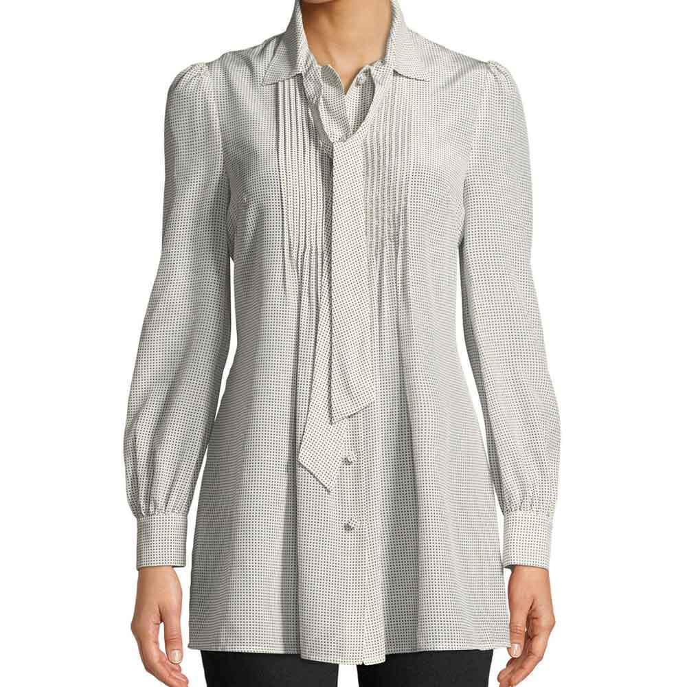 Co Collection Tie Neck Long-Sleeve Pleated-Bib Front Silk Tunic Tops Co Collection