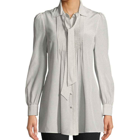 Co Collection Tops S / Ivory Co Collection Tie Neck Long-Sleeve Pleated-Bib Front Silk Tunic