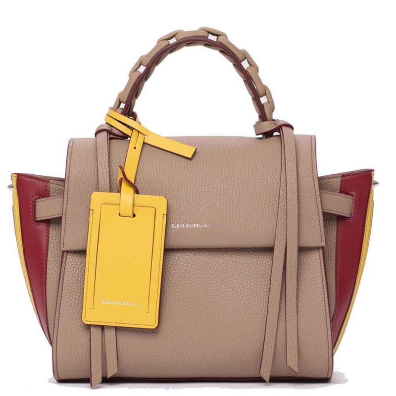 Elena Ghisellini S Angel Game Tan Leather Top Handle Handbag Handbag Elena Ghisellini
