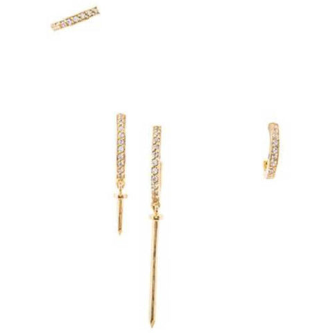 Joanna Laura Constantine Jewelry Default Title Joanna Laura Constantine (4) Nail Hoop Earrings