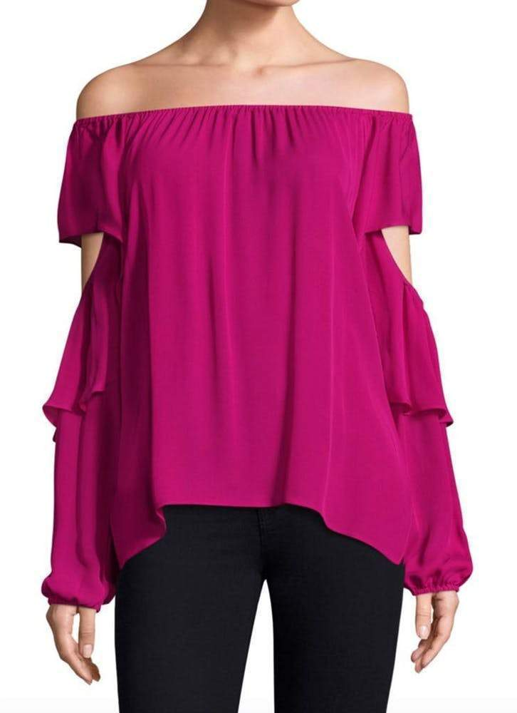 Kobi Halperin Wiley Pink Off The Shoulder Blouse Tops Kobi Halperin