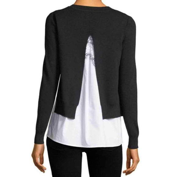 Kobi Halperin Adela Black Sweater with Poplin Underlay Tops S / Black Kobi Halperin Adela 2-1 Layered Sweater Adela Sweater Black Sweater Fashion Kobi Halperin Lace Longsleeve sweater $378.00 GordonStuart.com