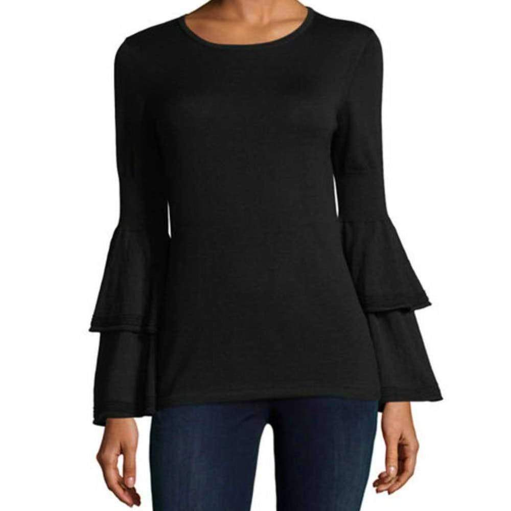 Kobi Halperin Alicia Black Bell Sleeve Sweater Tops S / Black Kobi Halperin Alicia Bell Sleeve Sweater Alicia Sweater Bell Sleeve Bell Sleeve Sweater Black Sweater Fashion Kobi Halperin Longsleeve sweater $368.00 GordonStuart.com