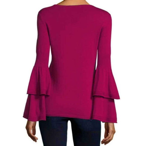 Kobi Halperin Alicia Raspberry Bell Sleeve Sweater Tops S / Raspberry Kobi Halperin Alicia Bell Sleeve Sweater Alicia Sweater Bell Sleeve Bell Sleeve Sweater Fashion Kobi Halperin Longsleeve Raspberry Sweater sweater $368.00 GordonStuart.com