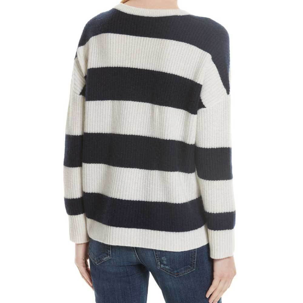 Kule Addison Cashmere Cream and Navy Sweater Sweater Kule
