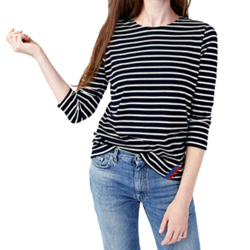 Kule Boyfriend Navy Cream Stripe Top Tops Kule