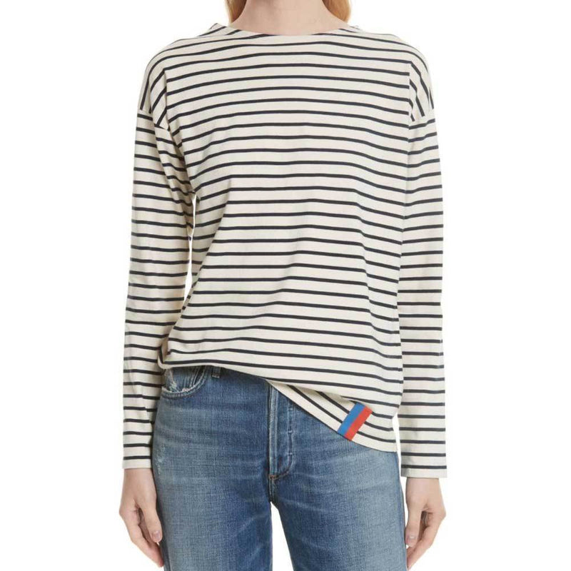 Kule Boyfriend Cream and Navy Stripe Top Tops Kule