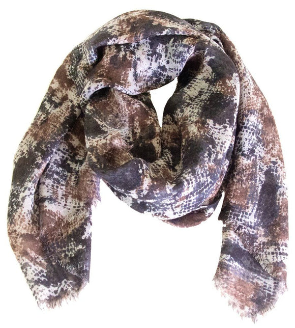 Loro Piana Chestnut and Black Python Print Cashmere and Silk Scarf Scarves Animalier Scarf / brown Loro Piana cashmere fall fall 2012 chestnut Loro Piana over-500 python print scarf scarves $975.00 GordonStuart.com