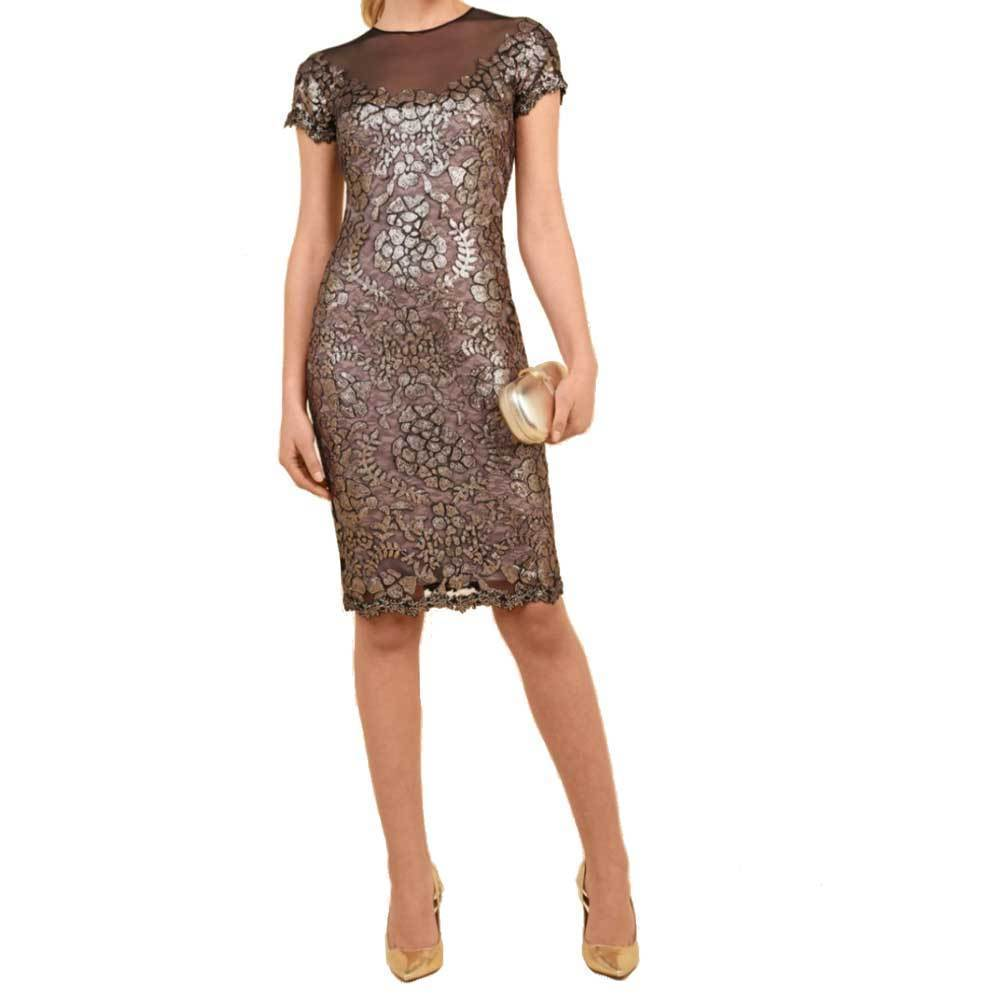 Luisa Spagnoli Giona Bronze Embroidered Tulle Dress Dress Luis Spagnoli