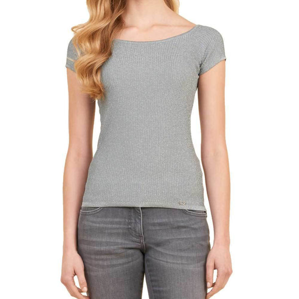 Luisa Spagnoli Zattera Grey Short Sleeve Sweater
