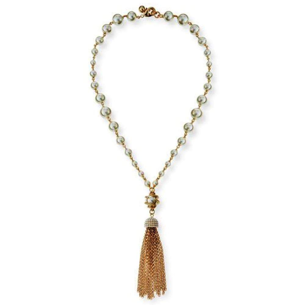 Lulu Frost Lustre Pearl and Gold Tassel Necklace Jewelry Lulu Frost