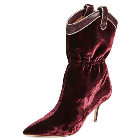 Malone Souliers Boots 37 / BURGUNDY Malone Souliers by Roy Luwolt Daisy Velvet Boots