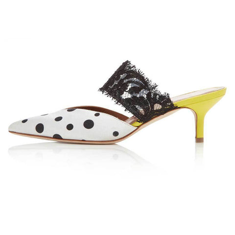Malone Souliers Shoes 36.5 / BLACK/WHITE Malone Souliers X Emanuel Ungaro Maisie Satin and Lace Mules