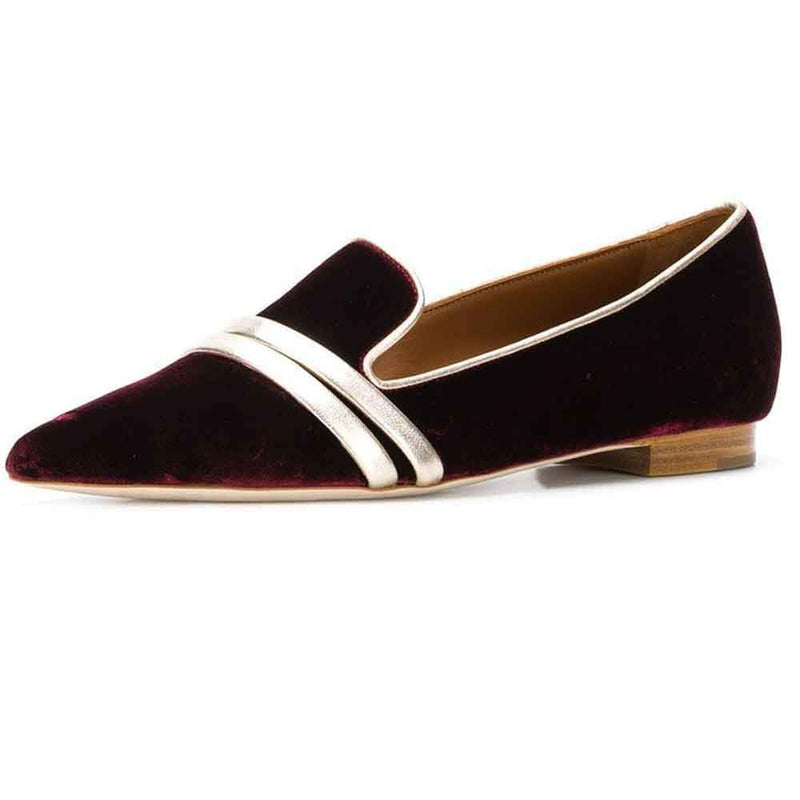 Malone Souliers by Roy Luwolt Hermione Velvet Flat Pumps Shoes Malone Souliers