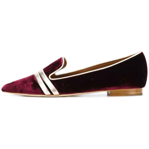 Malone Souliers Shoes 36.5 / BURGUNDY Malone Souliers by Roy Luwolt Hermione Velvet Flat Pumps