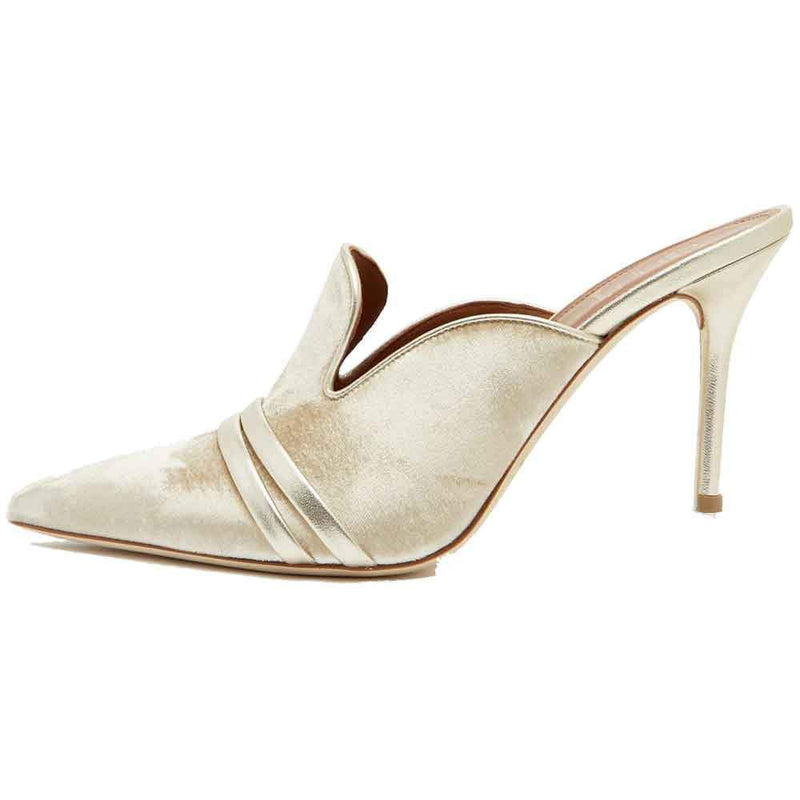 Malone Souliers Robyn Gold Leather Ankle Strap Flats