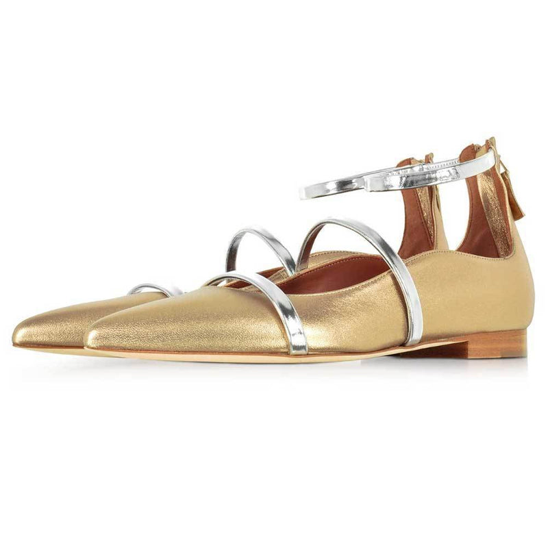 Malone Souliers Robyn Gold Leather Ankle Strap Flats Shoes Malone Souliers