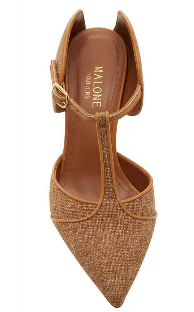 Malone Souliers Imogen Leather-Trimmed Hazelnut Mules Shoes Malone Souliers