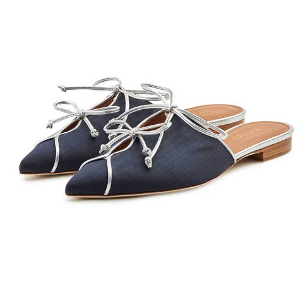 Malone Souliers Vilvin Navy Slide Flat Shoes Shoes Malone Souliers