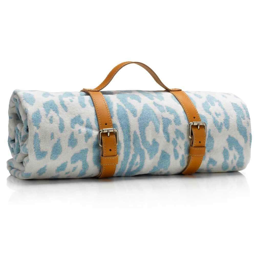 Maslin Light Chambray Blue Jaguar Hide Beach Towel with Holster beach towel MASLIN