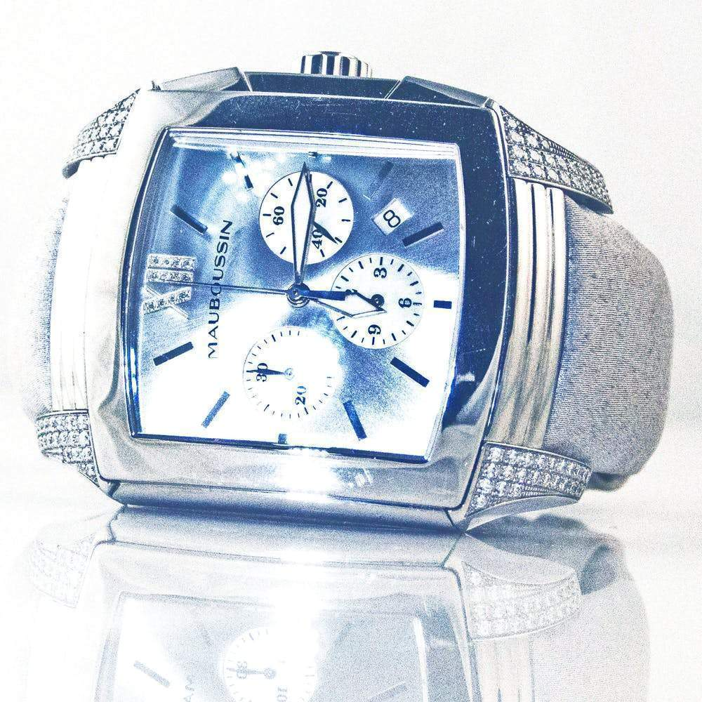 Mauboussin Delit Stainless Steel and Diamond Chronograph Watch Jewelry Mauboussin