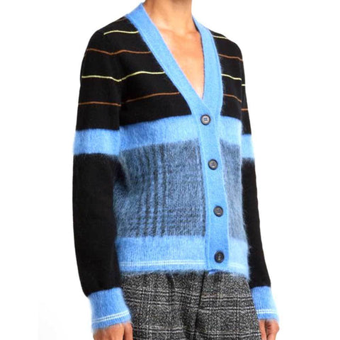 No. 21 Cardigan 48 / Black No. 21 Striped Wool Cardigan