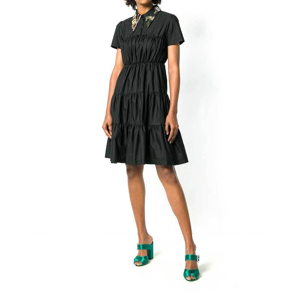 No. 21 Shirred Shirt Dress w/ Embellished Collar Dress No. 21