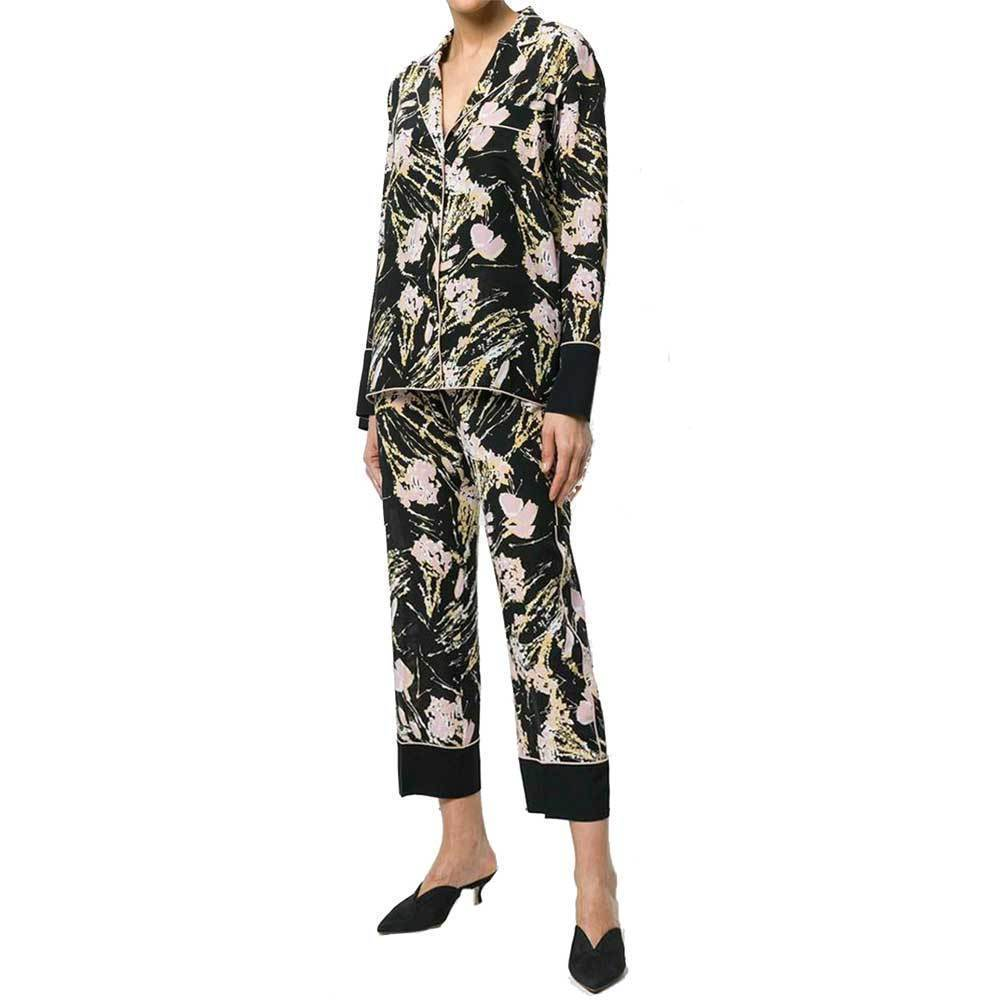 No. 21 Black Floral Pajama Cropped Wide Leg Pants Pants No. 21