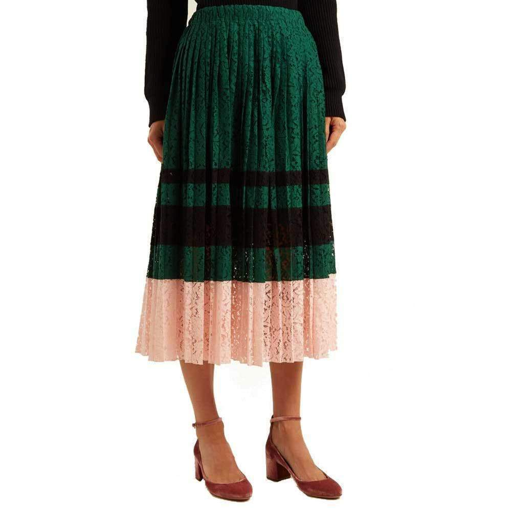 62f5bc1902 No. 21 Gloria Pleated Lace Midi Skirt