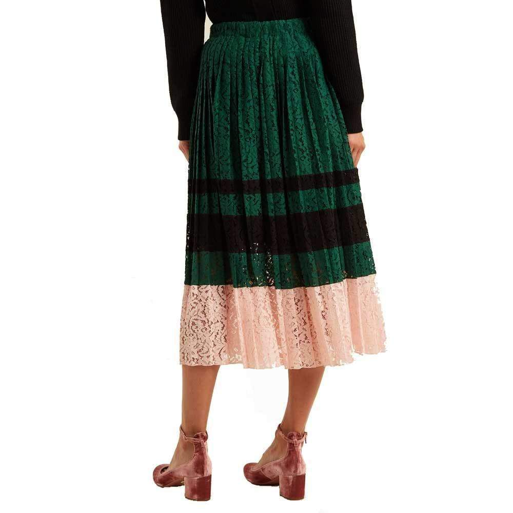 No. 21 Gloria Pleated Lace Midi Skirt Skirt No. 21