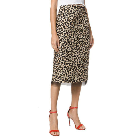 No. 21 Skirt 42 / Leopard No. 21 Leopard Print Midi Skirt