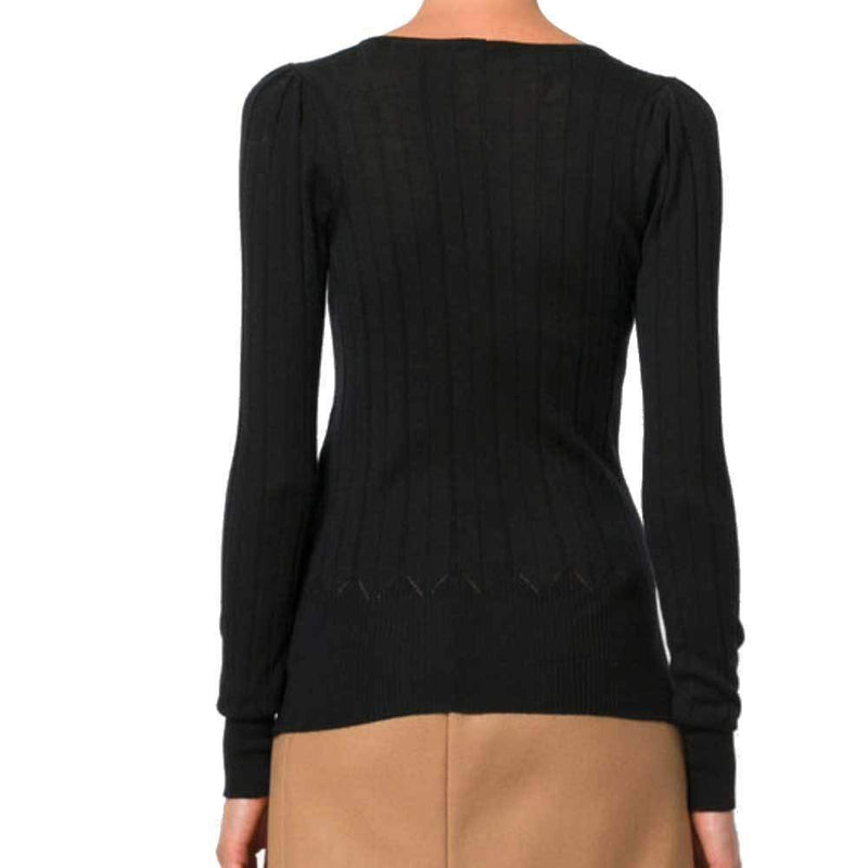 No. 21 Justa Black V-Neck Knit Sweater Sweater No. 21
