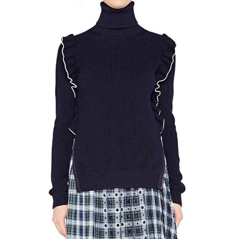 No. 21 Lucila Black Ruffle Trimmed Rollneck Sweater Sweater No. 21