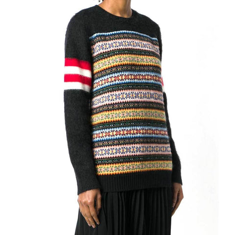 No. 21 Sweater 42 / Black No. 21 Striped Jacquard Knit Sweater