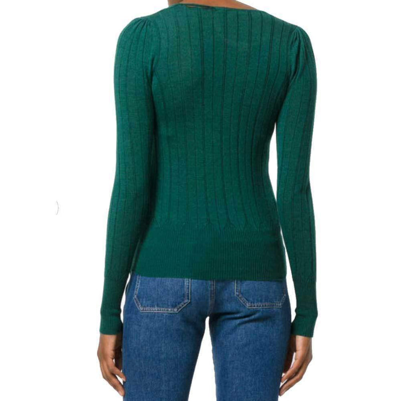 No. 21 Justa Green V-Neck Knit Sweater Sweater No. 21