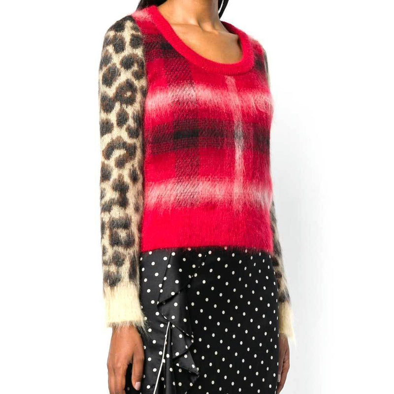 No. 21 Checked Leopard Sleeve Sweater Sweater No. 21