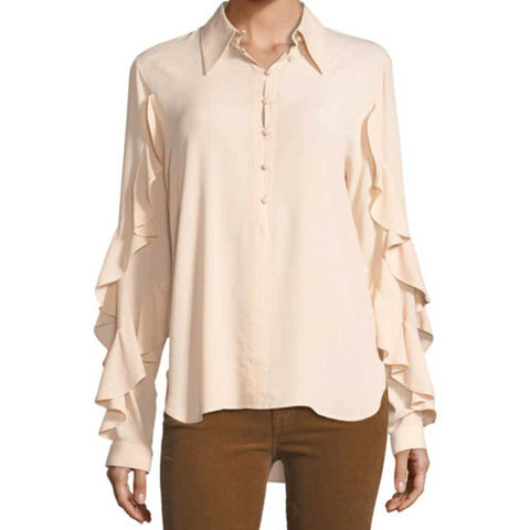 No. 21 Tops 38 / Nude No. 21 Ruffled Trim Shirt
