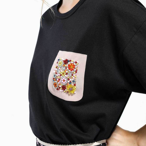 No. 21 Tops 40 / BLACK No.21 Embroidered Pocket T-Shirt