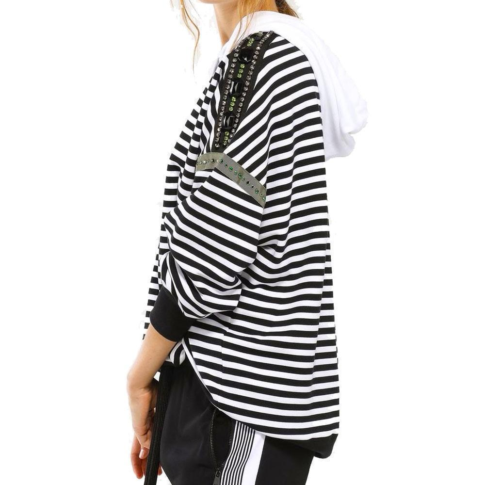 No. 21 Crystal Embellished Striped Hoodie Tops No. 21