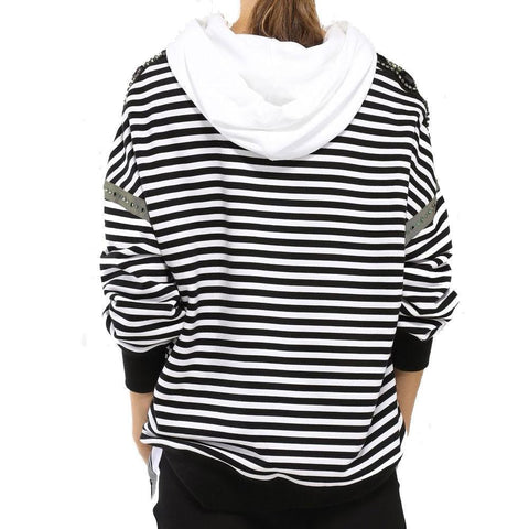 No. 21 Tops 42 / BLACK AND WHITE No. 21 Crystal Embellished Striped Hoodie